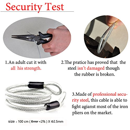 3 Travel Approved with TSA Lock Black for Digit Red Combination Suitcase Locks Cable Aspen Pack 2 wxnqBzF