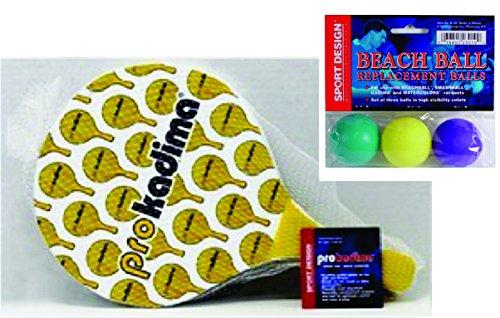 Pro Kadima Paddle Ball Set with Replacement Beach Balls - Paddles Design