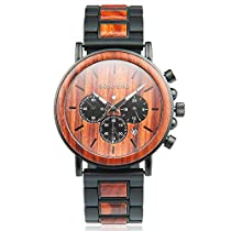 Mens Wooden Wrist Watches Wood & Stainless Steel Watch Classic Multi-fuctional Luminous Pointers Wood Watches with Gift Box