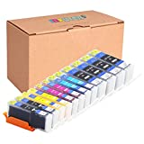 INKUTEN (TM) Compatible Ink Cartridge Replacement for Canon PGI-250XL CLI-251XL High Yield (4 large Black, 2 Cyan, 2 Magenta, 2 Yellow, 2 Small Black) - 12 Pack