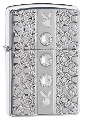Zippo Armor Playboy Crystals Pocket Lighter, High Polish Chrome