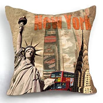 Loool 18 X 18 Inch Polyester Square New York Statue of Liberty Home Decor Decorative Throw Pillow Case Cushion Cover
