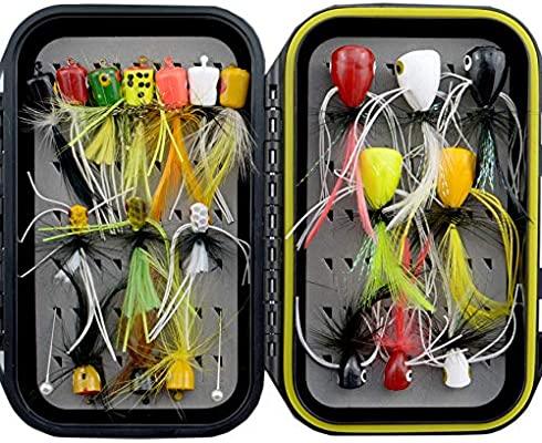 Wet/&Dry Flies.Caddis,Mayfly,Nymph,Emerger,Streamer with Waterproof Fly Box YAZHIDA Mosquito Lure+Realistic Flies+Fly Popper