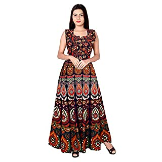 519NNcnYm4L. SS320 Monique Present Rajasthani Traditional Cotton Designer long Dress in Jaipuri Printed (Free Size UPTO 44XL)