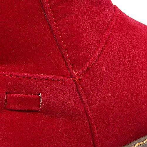 AllhqFashion Mujeres Caña Media Sólido Sin cordones Puntera Redonda Mini Tacón Botas Rojo