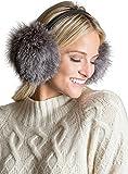 Finnish Fox Fur and Lambskin Leather Earmuffs