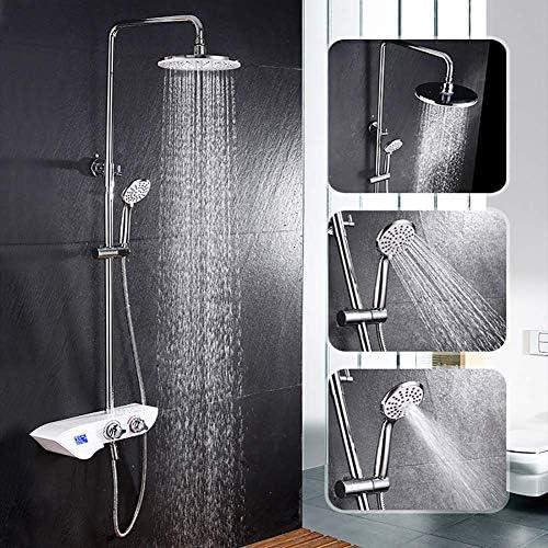 1yess Thermostat Regen Duschsystem mit Temperaturanzeige, Bad-Dusche-Mischer Set mit Showerhead, Handbrause