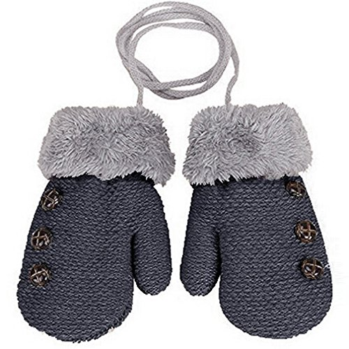 HENGSONG 1 Pair Winter Baby Cute Thick Gloves Mittens With String (0-3 Years)