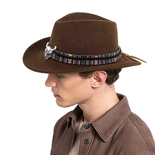 (Cowboy Style Classic Western Fedora Hat with Strap Brown)