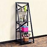 TANGKULA 4-Tier Ladder Bookcase Leaning Home Office Free Standing Wooden Frame Decor Bookshelf Storage Flower Shelf Display Shelf