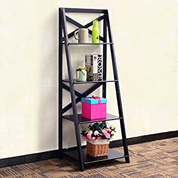 Amazon Com Winsome Wood Bailey Leaning 5 Tier Shelving