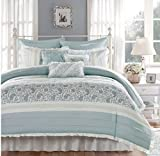 9 Piece Paisley Ruched Pattern Comforter Set King Size, Featuring Embroidered Pleated French Inspired Design Bedding, Contemporary Stylish Shabby Chic Bedroom Decoration, Pintuck Pillow, Blue, Green