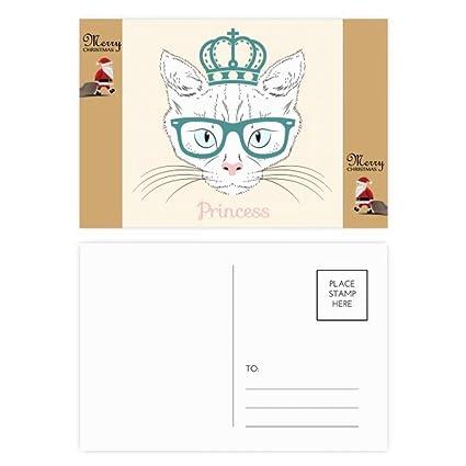 Tarjeta de agradecimiento con diseño de gato blanco y corona ...