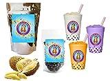 10+ Drinks Durian Boba Tea Kit: Tea Powder, Tapioca Pearls & Straws By Buddha Bubbles Boba