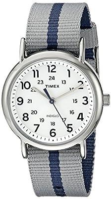 Timex Men's TW2P72300 Weekender Reversible Gray/Blue Stripe Nylon Slip-Thru Strap Watch