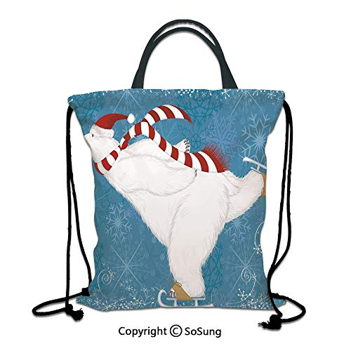 Bear 3D Print Drawstring Bag String Backpack,Polar Bear with Christmas Hat and Scarf Ice Skating Ornate Snowflakes and Swirls Decorative,for Travel Gym School Beach ShoppingBlue Red White - Ice Skating Polar Bear