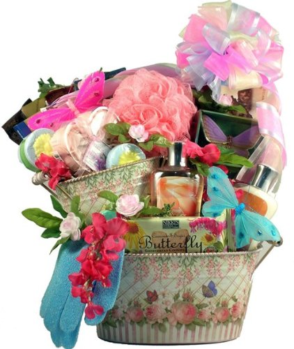 Butterfly Meadows Spa and Gourmet Gift Basket for Women-Large