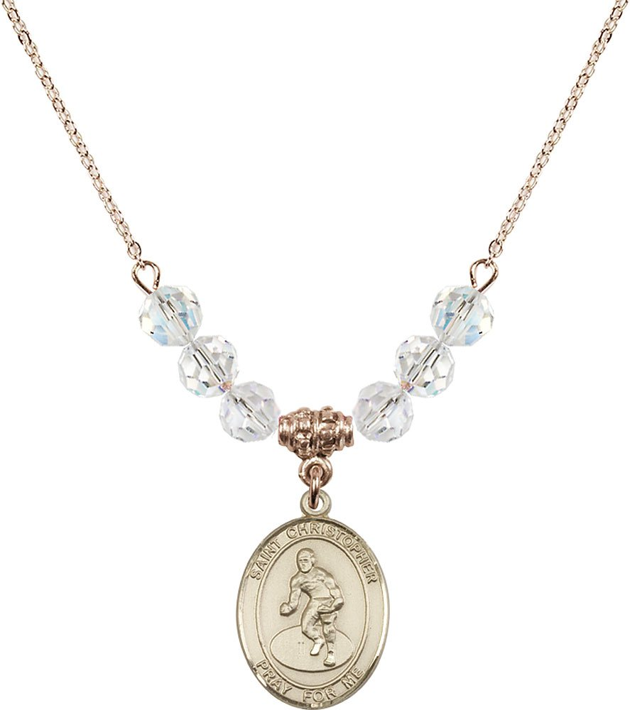 Gold Plated Necklace with 6mm Crystal Birthstone Beads & Saint Christopher/Wrestling Charm.