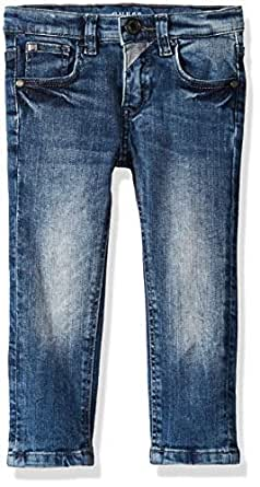 Guess Boys' Little Faded Skinny Fit Five Pocket Jeans, Ultra Medium Dark wash, 2