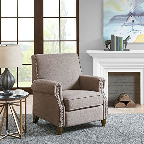 Madison Park MP103-0698 Julian Recliner Chair - Solid Wood, Plywood, Rolled Arm, Nail Head Accent Armchair Modern Classic Style Family Room Sofa Furniture, 31.5