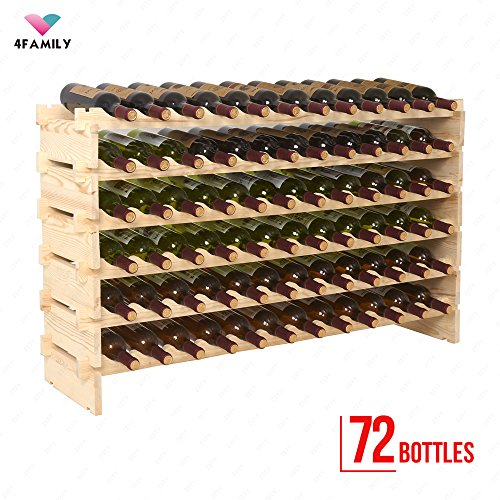 mecor Wine Rack Wood,Modular Stackable Storage 72 Bottle Display Capacity Shelves, Wobble-Free