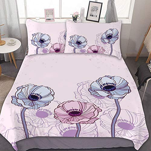 Rank-T Bedroom Modern Kids Cover Anemone Flower,Retro Grunge Display with Graphic Anemone Field Buds Leaves,Light Pink Lilac Baby Blue Bed Set 3 Piece Girls (Mango Tango Pink Quilt)