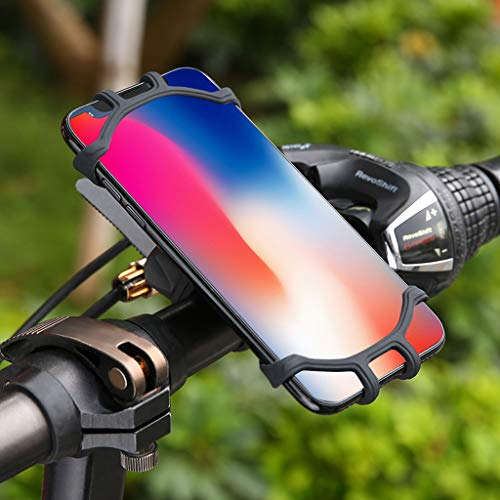 "Sodoop Universal Bike Phone Mount, Silicone Holder 360�Rotation Adjustable for Motorcycle Bicycle Handlebar Stroller Cell Phone Holder for All Smart Phones with Screen Size from 4.5""-7"" Smartphone"