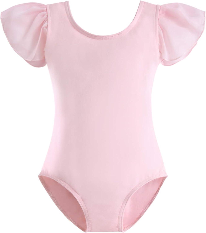 STELLE Girl's Cotton Ruffle Short Sleeve Leotard for Dance, Gymnastics and Ballet (Toddler/Little Girl/Big Girl)
