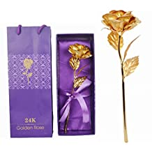 24K Gold Rose With Gift Box And Carry Bag - Best Gift On Valentine's Day, Rose Day,Diwali. Gold Dipped Rose With Gift Box
