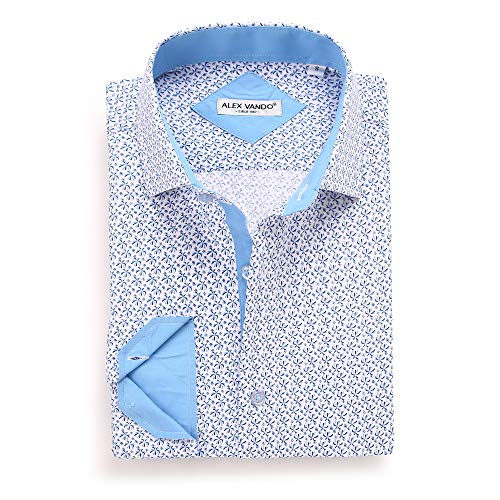 Alex Vando Mens Printed Dress Shirts Long Sleeve Regular Fit Casual Fashion Shirt(white6495,S)