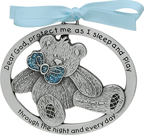 Cathedral Art CM17B Blue Teddy Bear Crib Medal, 2-1/2 Inch by 2-Inch ()