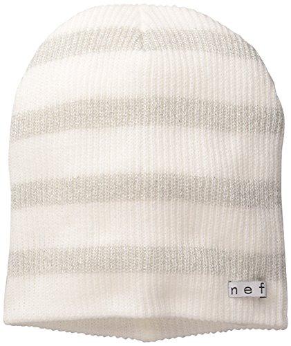 NEFF Women's Daily Sparkle Stripe Beanie Hat, White/Silver, One Size Double Stripe Beanie