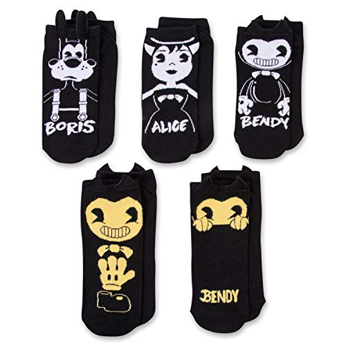 Bendy and the Ink Machine Socks - 5 Pairs of Bendy 3D No Show Socks -