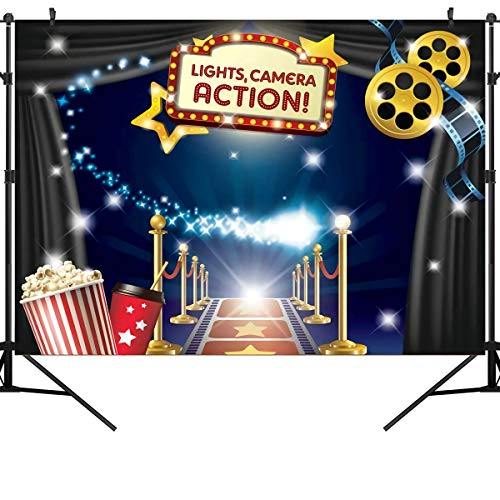 OUYIDA 9X6FT Movie Vinyl Photography Backdrop and Studio Props Great as Dress-up and Awards Night Ceremony Photo Booth Background Vintage Costume Birthday Party Supplies and Event Decorations PCK16B from OUYIDA
