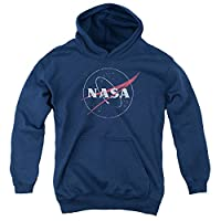 NASA Distressed Logo Unisex Youth Pull-Over Hoodie for Boys and Girls