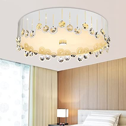 LED Crystal Ceiling Light Modern Living Room Light Bedroom Lamp (White)
