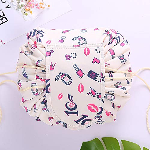Fashion Drawstring Cosmetic Bag Travel Lazy Makeup Storage Bag Portable&Waterproof Quick Pack Large Cosmetic Bag Dual Magic Bags With Zipper&Drawstrings Brush Holder Carry On Travel (Rice white)