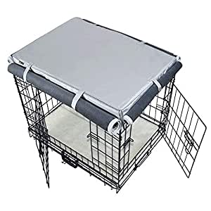 """Mr.You Pets Dog Indoor/Outdoor Crate Covers,Heavy Duty Waterproof Durable with Cashmere Fabrics for Winter,Four Sides Open Zipper and Six Fastened Straps (24"""" 17"""" 18"""" inches S)"""