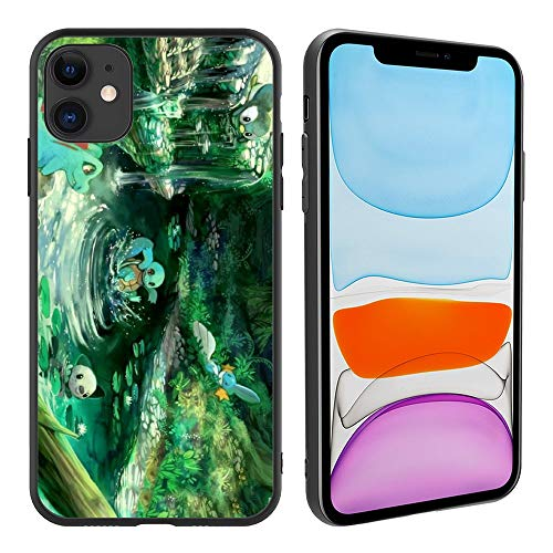 Anime Animation Game Pokemon 250 Tempered Glass Phone Case for iPhone11, Pattern Printed Tempered Glass Back Case with Bumper Protective Cover for iPhone11 (6.1 inch)