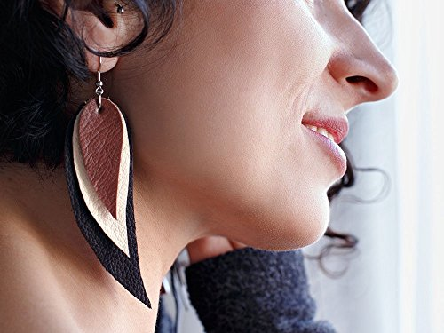 Dark brown, cream and brown Feather Leather Earrings, layered earrings, tribal Earrings, Boho earrings, dangle earrings, long earrings