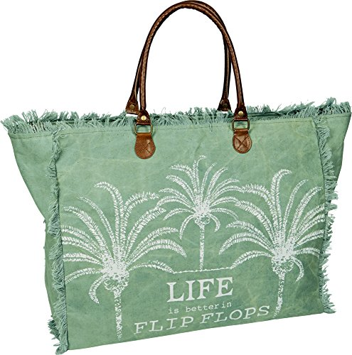 Home Collection Bolso de Playa Shopper ' Life is Better in Flip Flops ' y Cierre de Cremallera
