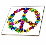 3dRose ct_6310_3 Peace Sign Flower Power Design Ceramic Tile, 8''