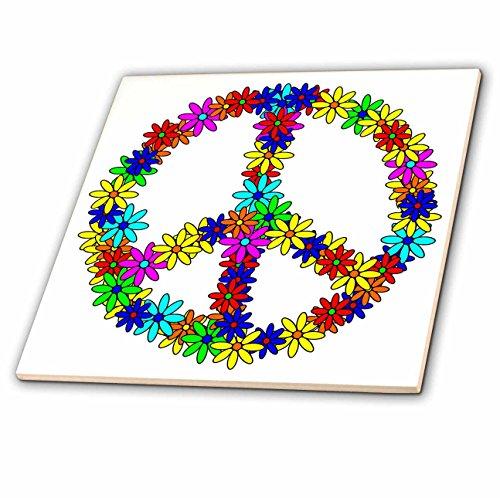 3dRose ct_6310_3 Peace Sign Flower Power Design Ceramic Tile, 8'' by 3dRose (Image #1)