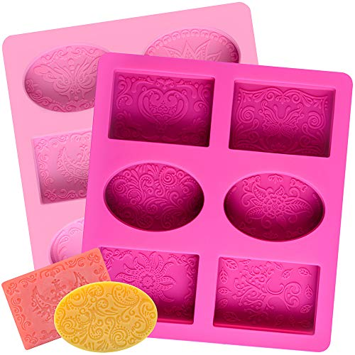(2 Pcs SJ Silicone Soap Molds, 12 Patterns Rectangle & Oval Silicone Molds for Soap Making, Cake Baking Molds, BPA Free & Nonstick)