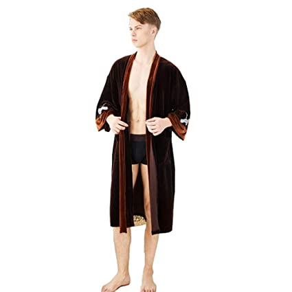 BCL-Pijama Bata De Caballero para Hombre Gatos De Lujo Albornoz Ligero Ropa De Salón (Color : Caramel, Tamaño : XL): Amazon.es: Hogar