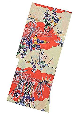 五センチメートル黒人[ KIMONOMACHI ] オリジナル 浴衣単品「朱赤色紅型風雲に草花」