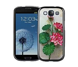 Elegant Samsung Galaxy S3 Case I9300 Durable Soft Silicone TPU Flower Florals Designer Black Phone Cover Accessories