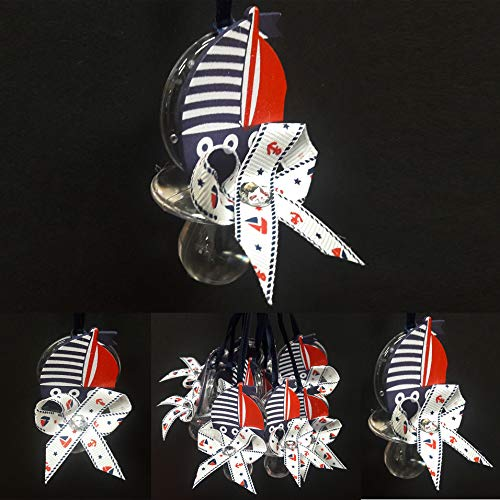 JCHB Navy Blue Nautical Theme Baby Shower Sash, Tie, or Pacifiers (Boat)