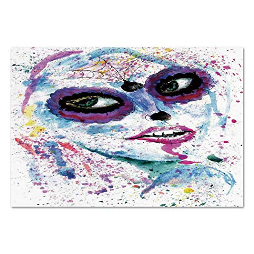 Large Wall Mural Sticker [ Girls,Grunge Halloween Lady with Sugar Skull Make Up Creepy Dead Face Gothic Woman Artsy,Blue Purple ] Self-adhesive Vinyl Wallpaper / Removable Modern Decorating Wall -