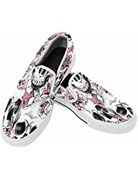 Men's Slip on Loafer Walking Shoes Skull and with Flowers Pink Cherry